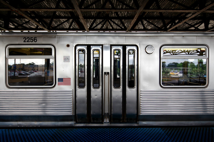 2200 series CTA car with blinker doors