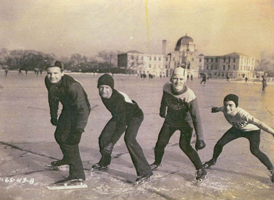 Skating on the ice in front of the fieldhouse. Image courtesy of Chicago Historic Preservation Division