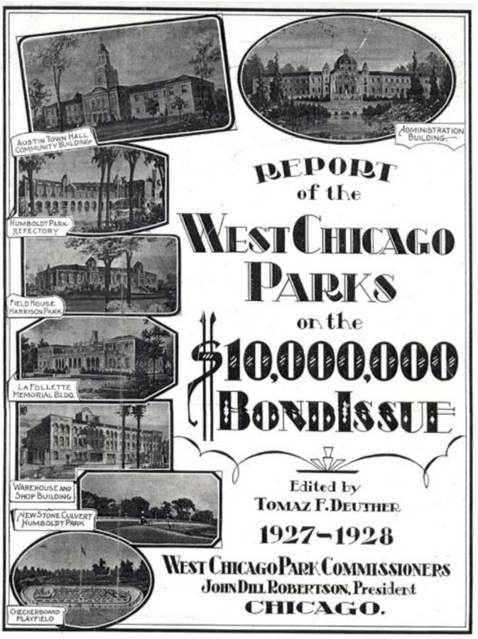 Report by the West Park Commission featuring the fieldhouse in the upper right. Image courtesy of Chicago Historic Preservation Division