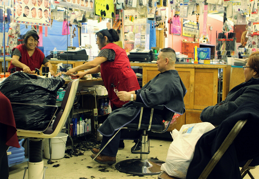 Ashland Swap-O-Rama Flea Market Hair salon/barber shop booth inside the flea market.