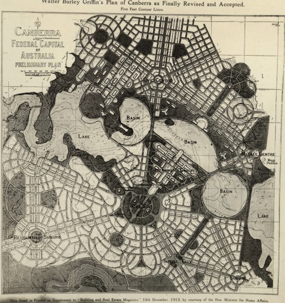 Walter Burley Griffin's plan for Canberra, Australia, 1913. Source: Wikipedia.
