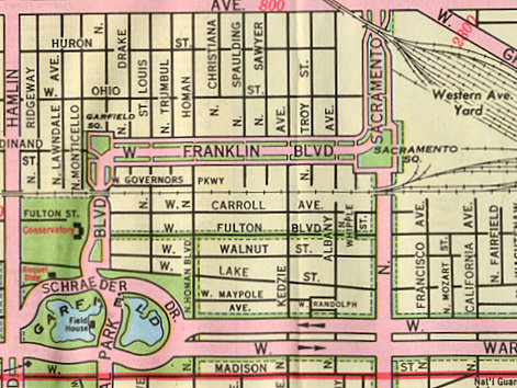 Detail of AAA 1972 Map depicting the Franklin Boulevard area with Garfield and Sacramento Squares