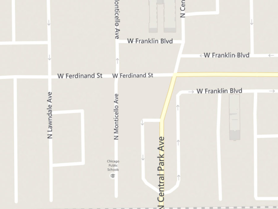Bing Maps screenshot depicting the west end of Franklin Boulevard and Garfield Square