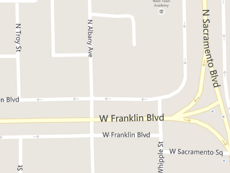 Bing Maps screnshot depicting the east end of Franklin Boulevard and Sacramento Square