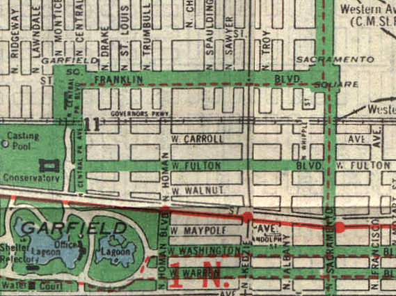 Detail from 1938 Chicago Daily News Map of Chicago, depicting Franklin Boulevard area with Garfield and Sacramento Squares.