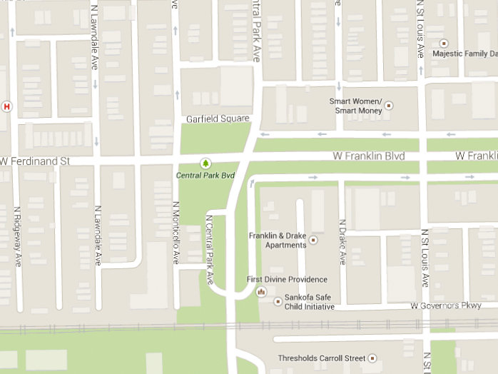 Google Maps screenshot depicting the west end of Franklin Boulevard and Garfield Square.