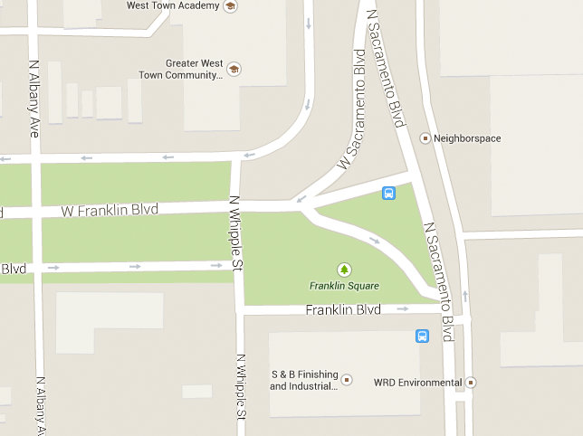 "Google Maps screenshot depicting the east end of Franklin Boulevard and Sacramento Square (named ""Franklin Square"")."