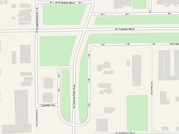 Mapquest screenshot depicting west end of Franklin Boulevard and Garfield Square.