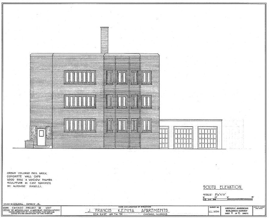 South Elevation of Kenna Apartments. Source: Historic American Buildings Survey