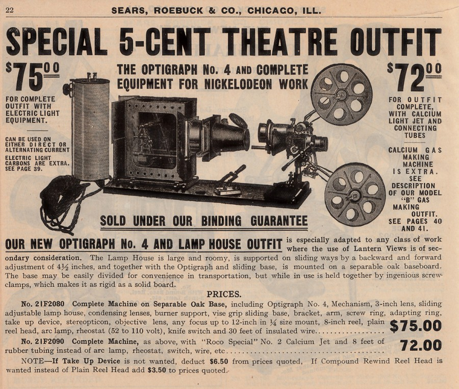 Number 4 Sears Optigraph, manufactured by The Enterprise Optical Company. From 1908 Sears motion picture machine catalog