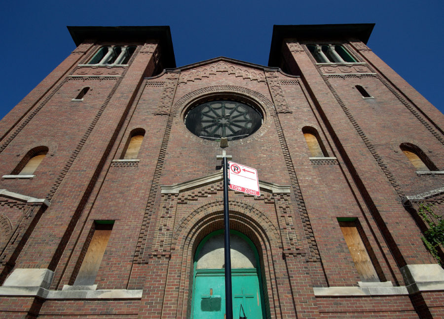 West facade and front entrance of Saint Dominic's Catholic Church, built 1905.