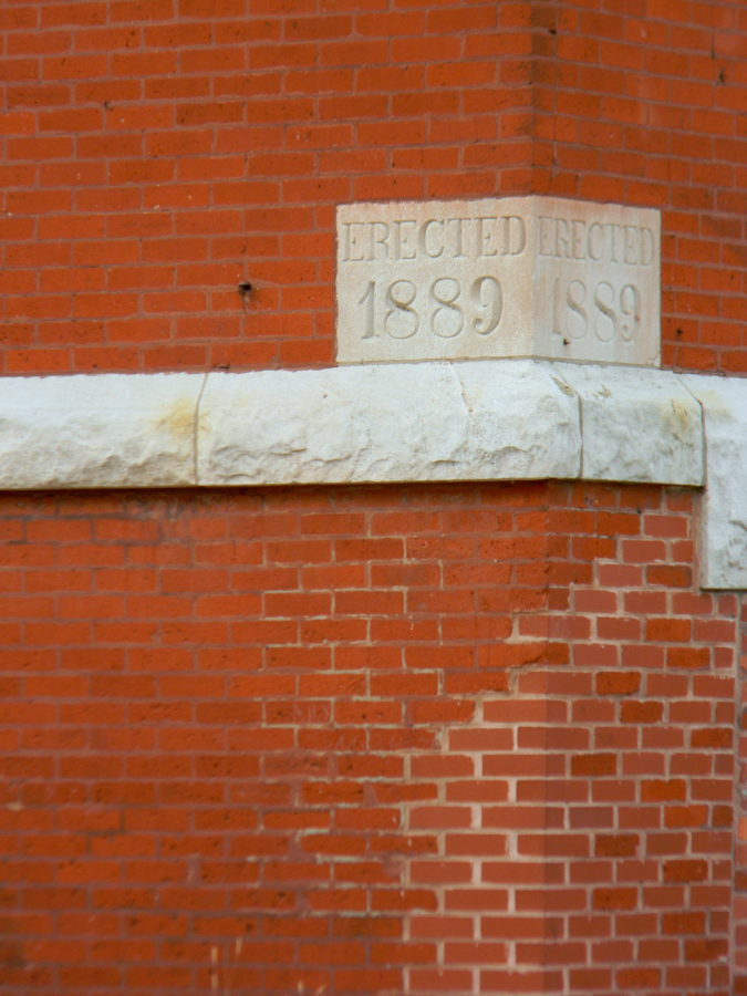 View of 1889 cornerstone for former First Swedish Baptist Church at 509 West Elm Street.