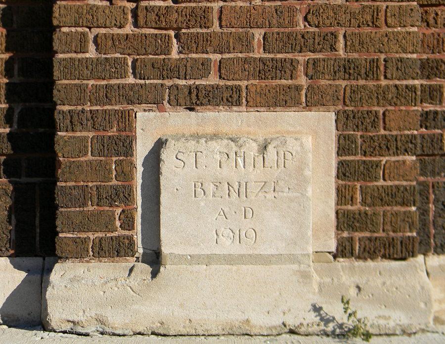 Cornerstone for former Saint Philip Benizi School at 515 West Oak Street, built 1919, now demolished