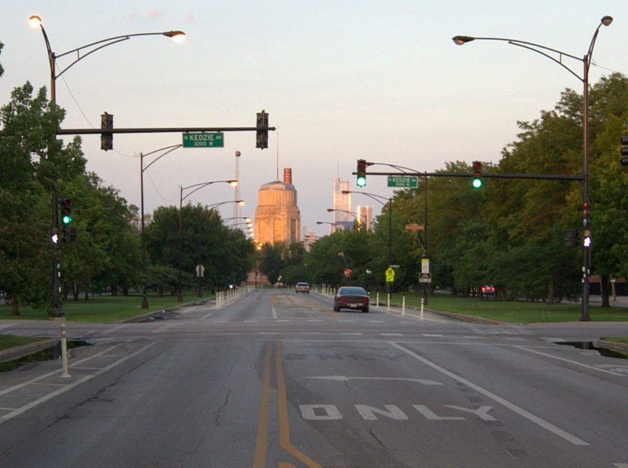 Viewing east on Franklin Boulevard from Kedzie Avenue, with Sacramento Square in the background. Gabriel X. Michael/Chicago Patterns
