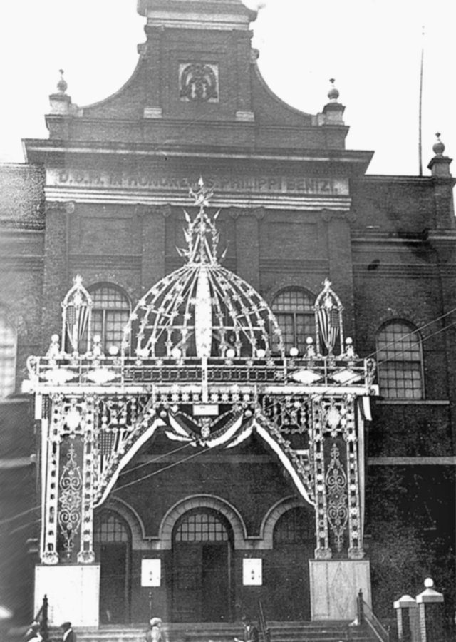 Facade of Saint Philip Benizi Catholic Church, date unknown.
