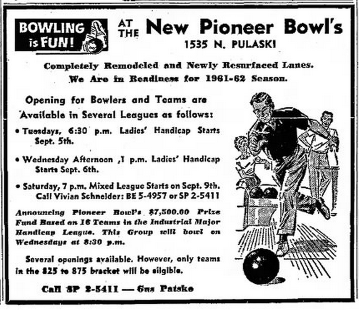 Advertisement for Pioneer from August 1961 Suburbanite Economist newspaper
