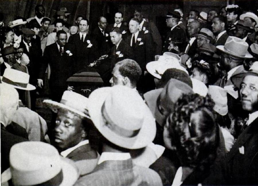 Photo from Jack Johnson's funeral at Pilgrim Baptist Church, from 1984 issue of Ebony magazine