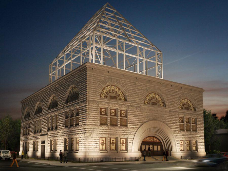 Rendering of how the rebuilt Pilgrim Baptist would look