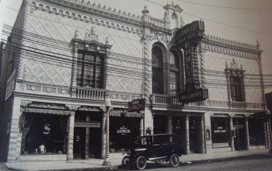 Early photo of Pioneer Arcade, image courtesy of North and Pulaski Historical Society