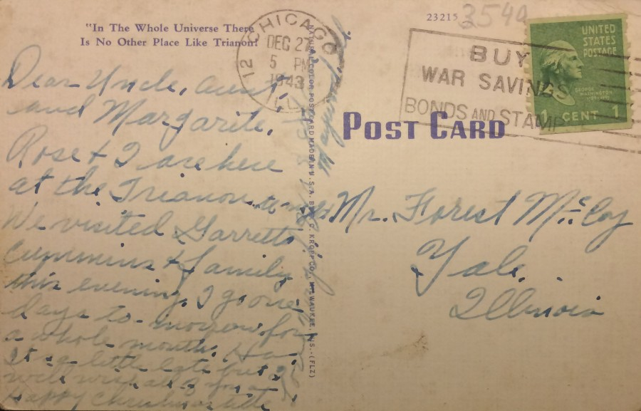 Trianon postcard back
