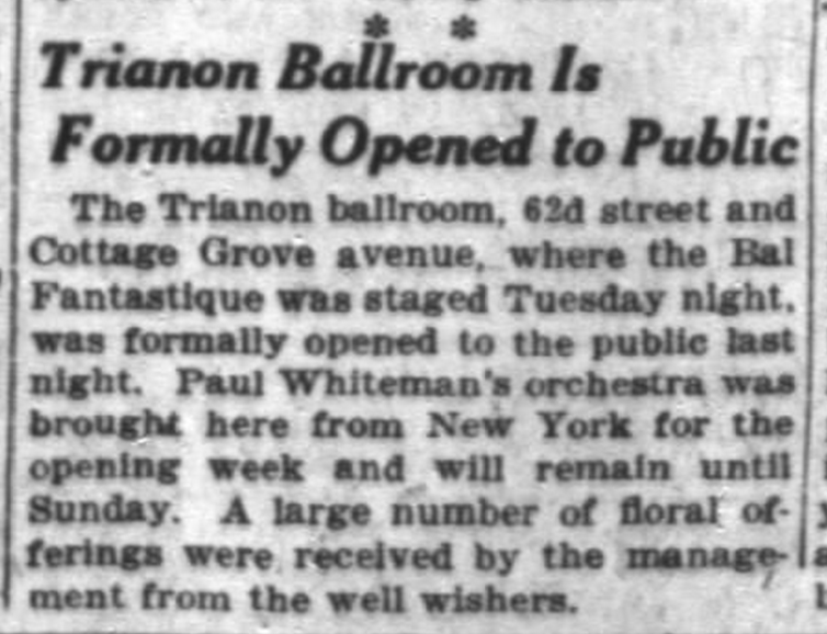 Opening announcement on December 7th 1922, from Chicago Daily Tribune