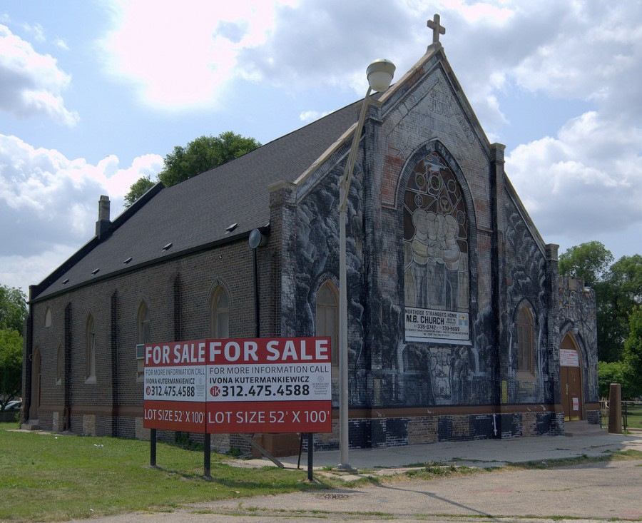 View of the former San Marcello Mission, dedicated 1927, now Strangers' Home MB Church and for sale, 617 West Evergreen Street.