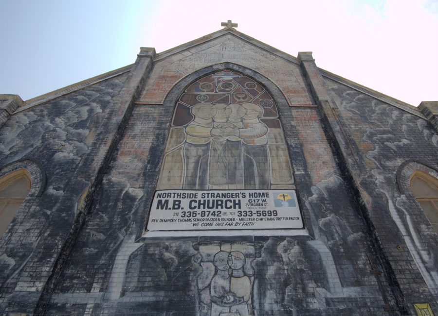 Detail of north facade of Strangers' Home MB Church and 1974 William Walker mural