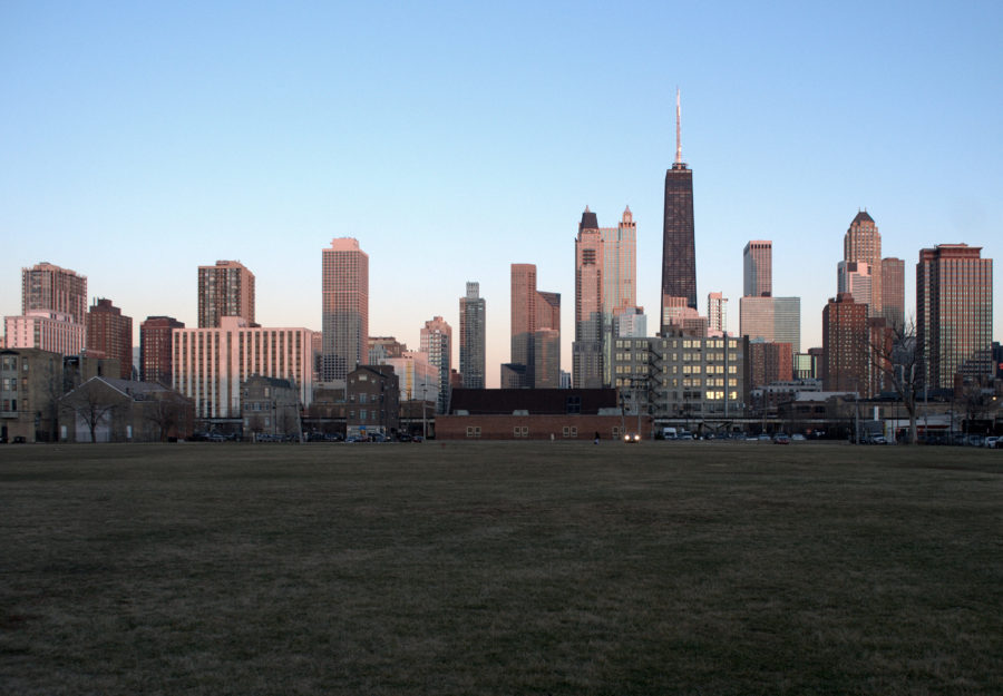 Viewing east towards the Near North skyline, from 900 block of Hudson Avenue. Vacant former site of Cabrini Extension South high-rises in foreground.