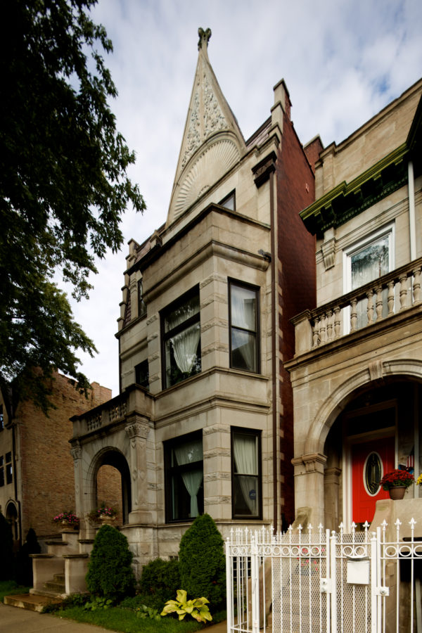 Neighboring Romanesque Greystone With Extra Large Front Pediment. John  Morris/Chicago Patterns
