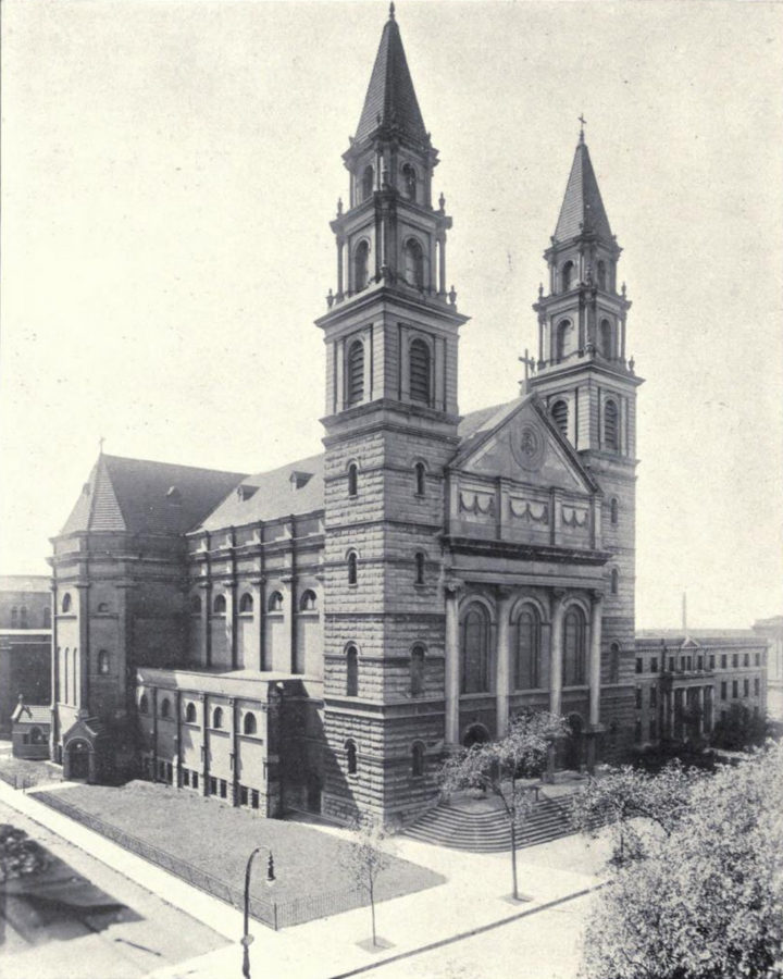 Image of Our Lady of Sorrows showing both towers extant, from 1916 publication Illustrated Souvenir of the Archdiocese of Chicago