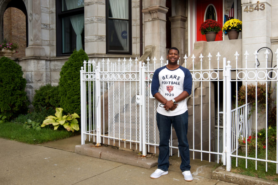 Anton Downing in front of his brother's house. John Morris/Chicago Patterns