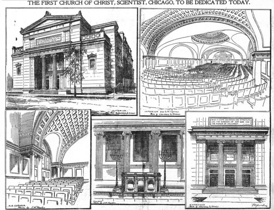 Drawings of First Church of Christ, Scientist from November 14, 1897 Inter Ocean newspaper