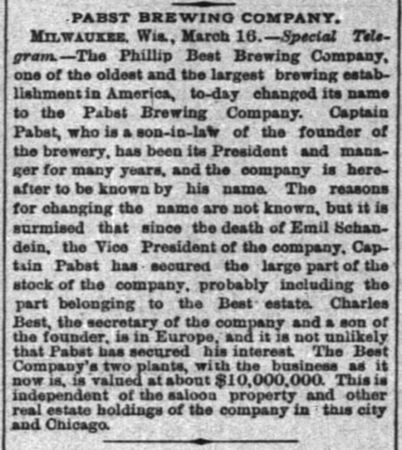 March 17, 1889 Chicago Inter Ocean newspaper article announcing the name change from Phillip Best Brewing Company