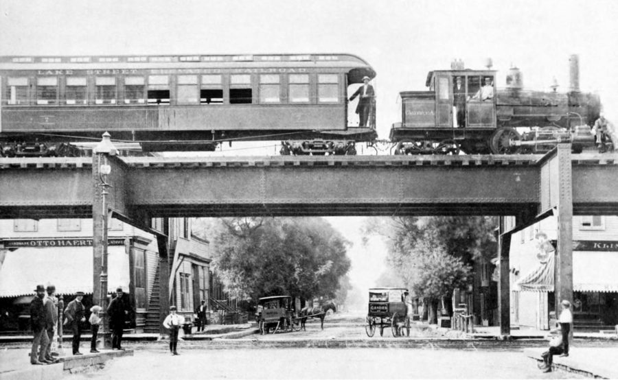 "Coal-burning steam locomotive ""Clarence A"" on the Lake Street Elevated Railroad at Oakley Avenue, 1893 (http://archive.org/stream/chicagosmasstran00chic#page/20/mode/2up)"