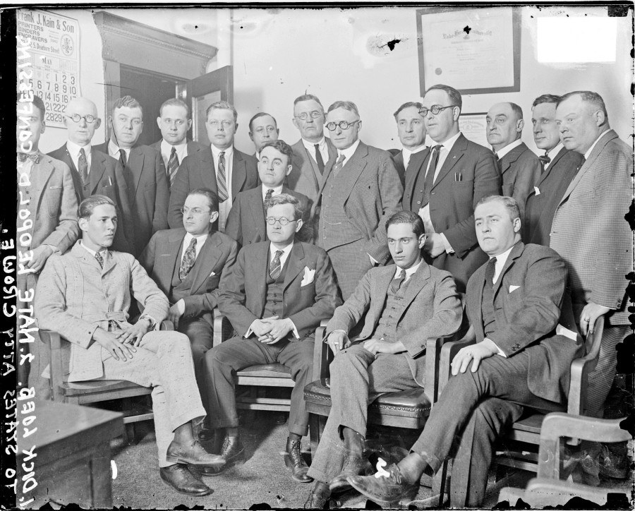 Robert Crowe in front row center (with glasses) from Leopold and Loeb trial. Image courtesy of Clarence Darrow Digital Collection at University of Minnesota
