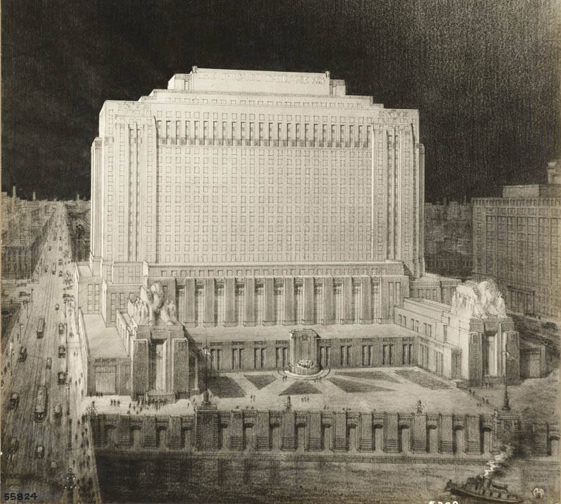 Drawing of Daily News Building, courtesy of SAIC