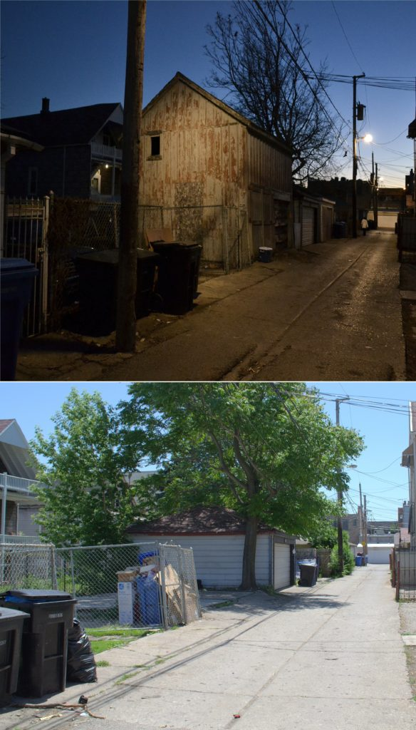 Site of 2934 North Wisner Avenue barn, circa 1880s, before and after demolition.