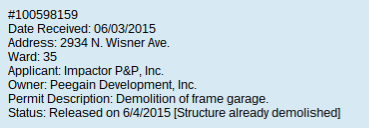 Entry for 2934 North Wisner Avenue in the City of Chicago's 2015 Demolition Delay List.