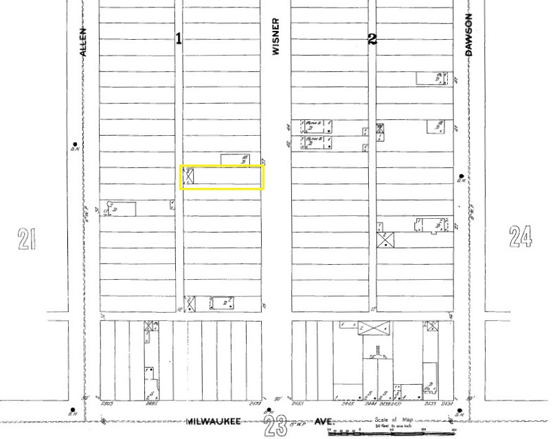 Excerpt of 1896 Sanborn Fire Insurance Map showing the barn at 2934 North Wisner Avenue in yellow