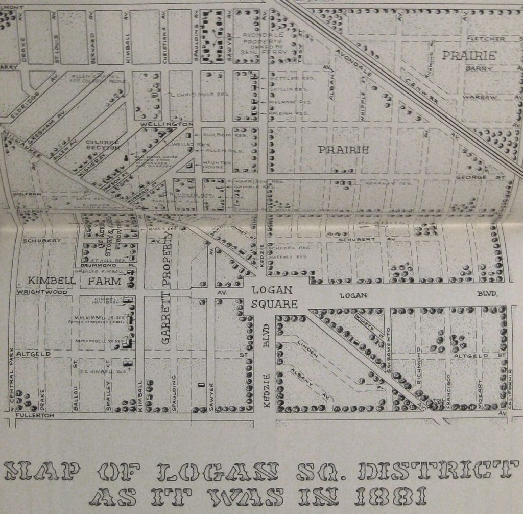 Map of Logan Square, circa 1881 (via Calumet 412)