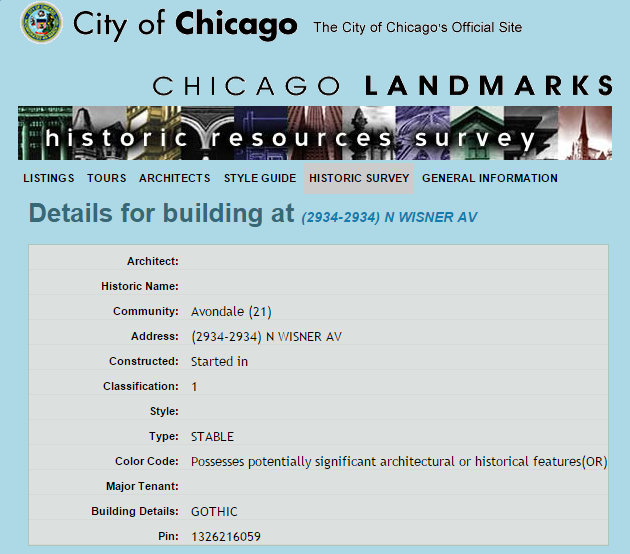 Excerpt of the web entry for 2934 North Wisner Avenue in the City of Chicago's Landmarks Historic Resources Survey.