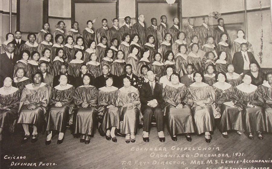 The first gospel choir at Ebenezer. Photo courtesy wttw