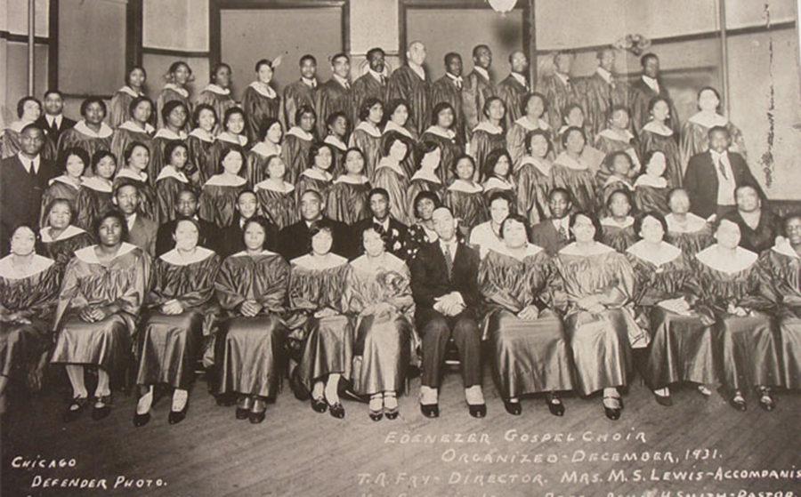 The first gospel choir at Ebenezer. Photo courtesy wttw