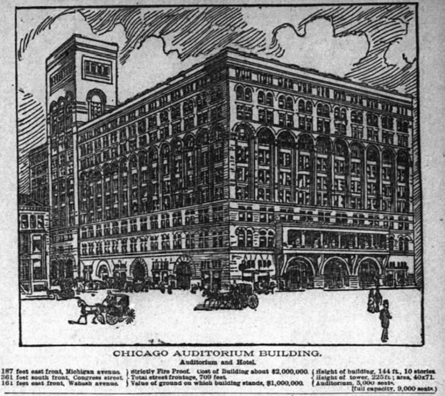 Announcing the new Auditorium Building, Chicago Inter Ocean, July 10, 1887