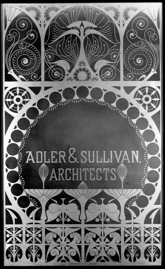 Glass window panel from Adler & Sullivan's firm. Image courtesy of the Richard Nickel Commitee