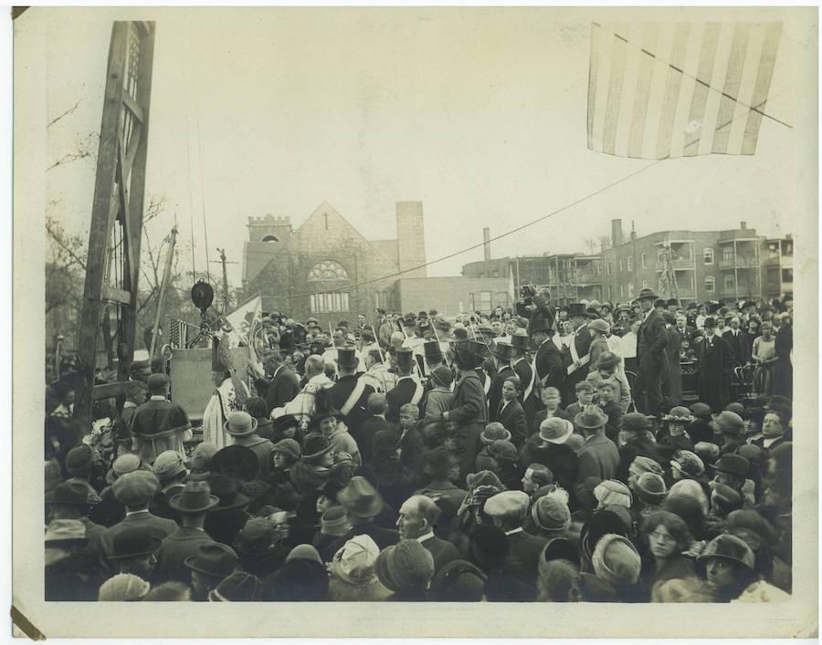 Cardinal Mundelein dedicates the cornerstone of St. Clara. [Chicago Herald-Examiner]