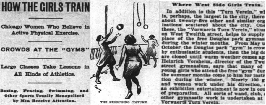 February 13, 1898 Chicago Inter Ocean article highlighting physical activity and training opportunities for women