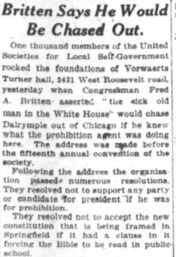 July 7, 1920 article from Chicago Daily Tribune highlighting the West Side Turner Hall's role in protesting prohibition