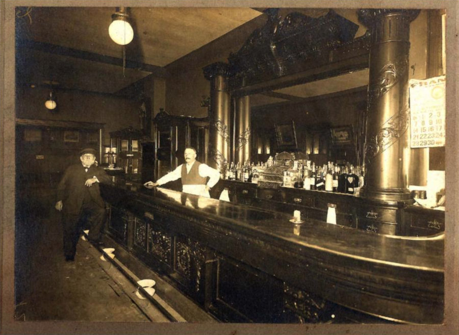 Jacob Gebhardt tending bar in 1919, photo courtesy of Herb Zuegel