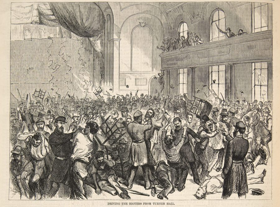 Riot after police raid furniture workers meeting in first Vorwaerts Hall. From August 18th, 1877 Harper's Weekly